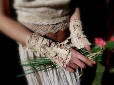 Vintage Doily Bridal Cuffs Antiqued Tea Dyed Bride by MexiSoul, $40.00