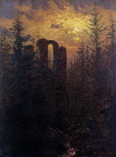Carl Gustav Carus (1789–1869), Ruins in the Moonshine, Altzella Monastery ruins
