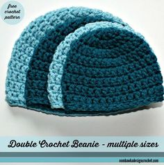 Free Simple Double Crochet Hat Pattern with Sizes from Preemie to Adult