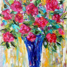 Original oil painting Flowers Still Life palette knife modern texture fine art impressionism by Karen Tarlton