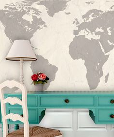 Loving this Cream World Map Wall Art on #zulily! #zulilyfinds