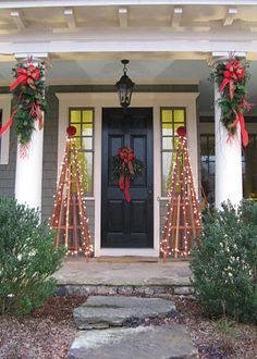 decorating front porch columns for christmas newchristmas co - Christmas Column Decorations