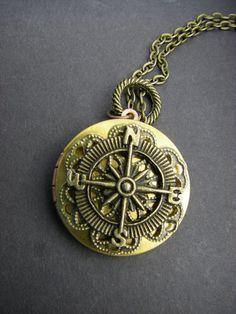 True North Vintage Compass Locket brass by CHAiNGEthesubject, $29.00
