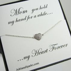 Mother of the Bride or Groom Heart Bracelet with Card, Thank You Mom Card, Gift for Mother of the Bride, gift for mother in la on Etsy, $30.00