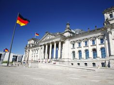 German flags at The Reichstag, Berlin