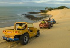 Riding dune buggies in Natal, Brazil
