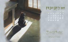 """February Featured Artwork and Desktop Calendar, """"The Little Sunflower"""""""