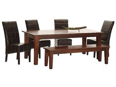 Vienna Dining Table With 4 Leather Chairs And Bench