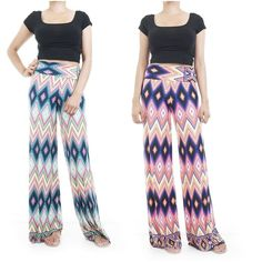ebclo - Chic & Comfy Wide Leg Pants Diamond Patterns Maxi Trousers New #ebclo #CasualPants $19.00 Free Shipping