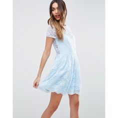 ASOS Lace Skater Mini T-Shirt Dress ($67) ❤ liked on Polyvore featuring dresses, blue, blue skater dress, asos dresses, fit and flare dress, blue lace dress and blue dress