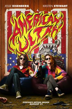 Jesse Eisenberg and Kristen Stewart are super chill and ready to kill on a brand new, exclusive poster for their upcoming actio/spy-fi/romantic comedy American Ultra. The poster, by popular underground artist T., will debut at San Diego Comic-Con. 2015 Movies, Latest Movies, Hd Movies, Movies To Watch, Movies Online, Movie Tv, Funny Movies, Kristen Stewart, Connie Britton