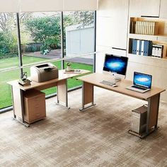 Ebern Designs Cresson Reversible L-Shape Executive Desk Color: Salt Oak Home Desk, Home Office Desks, Modern L Shaped Desk, L Shaped Executive Desk, Computer Desk With Hutch, Corner Desk, Computer Desks, Mobile File Cabinet, Solid Wood Desk