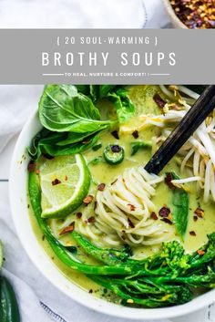 Soul-Warming Broth-Based Soup Recipes Healthy Broth Based Soup Recipes from around the world. Delicious, with many paleo and vegan options! Healthy Soup Recipes, Gourmet Recipes, Whole Food Recipes, Vegetarian Recipes, Cooking Recipes, Paleo Soup, Brothy Soup Recipes, Skinny Recipes, Easy Cooking