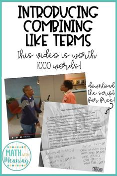 Introducing Combining Like Terms: This Video is Worth 1000 Words! – Math With Meaning Math 8, Maths Algebra, 7th Grade Math, Math Teacher, Math Classroom, Teaching Math, Math Fractions, Teaching Ideas, Teaching Tools