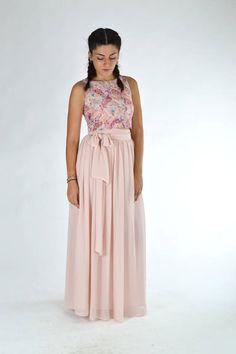 Pink chiffon skirt, Pink bow skirt, Maxi chiffon skirt, Engagement skirt Bridesmaid skirt Flower girl skirt Plus size skirt