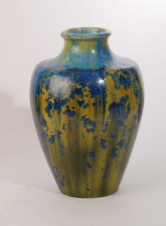 "Stoneware vase with blue and yellow crystalline glaze, c. 1910.   Pierrefonds  Height 10"" (25.5cm) Width 6 3/4"" (17 cm)"