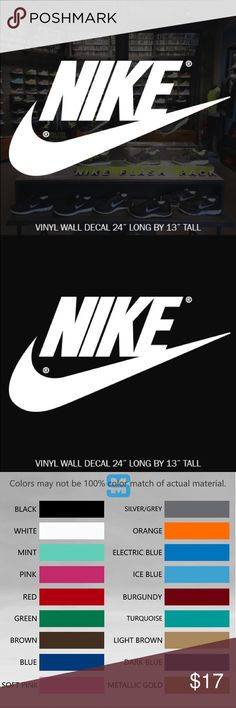 NIKE VINYL WALL DECAL STICKER CHOOSE COLOR CUSTOM MADE DECAL NIKE LOGO WALL STICKER  ☆CONTACT ME FOR CUSTOM DESIGNS☆  ☆COLOR☆ Choose from 16 colors listed in the 2nd photo in listing at check out add your color to notes or default black will be sent   ☆MATERIAL☆ Oracal 641 Premium Vinyl  ☆VINYL PRODUCT DETAILS  - Rated for Indoor or Outdoor use - Dishwasher safe 24 hrs after application - Easy Peel & Stick Application - Easy to Remove - UV / Fade Resistant - Adhesive on the back of…