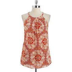 LORD & TAYLOR Plus Printed Halter Trapeze Top (260 GTQ) ❤ liked on Polyvore featuring tops, shirts, tank tops, burnt red, red top, red shirt, halter neck top, red halter top and summer shirts