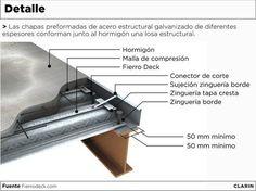 Sistema steel deck: encofrado perdido y armadura Metal Building Homes, Building A Deck, Metal Homes, Building Design, Building Ideas, Halle, Deck Framing, Steel Frame House, Steel Deck