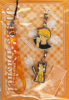 Fruits Basket (Furuba) Anime Kyo Neko Cat Cell Phone Strap and Two Charms