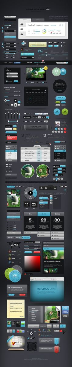 Futurico UI Pro is the world's biggest user interface elements pack. It contains more than 200 web design elements that can be used in any project no matter the style or the concept. Graphisches Design, Design Elements, Ui Elements, Detail Design, Site Design, Photoshop, Menu Web, Ui Components, Mobile Ui Design