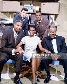 From left to right (back row) Frank Sinatra Jr. and Sammy Davis Jr., (front row) Ossie Davis, Cicely Tyson, and Louis Armstrong.