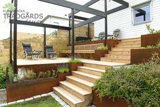 Sloped Backyard, Sloped Garden, Hillside Deck, Outdoor Areas, Outdoor Structures, Wooden Decks, Outdoor Living, Outdoor Decor, Dream Garden