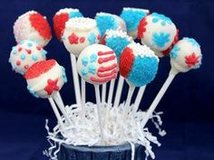Red, White and Blue Cake Pops (use Betty Crocker Gluten Free cake mix).