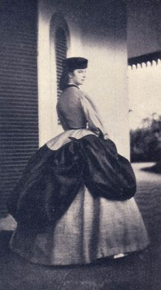 Sisi wearing a polonaise dress, late 1860's (?) Austria. Empress Elisabeth of Austria (due to the movie also known now as Sissi, 1837-1898)
