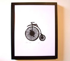 From thebigharumph on etsy: black linocut of an old-timey bicycle, $20.  I'm all for it, but what's up with  the old-timey bicycle zeitgeist?