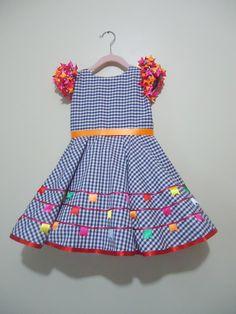 Vestido festa junina xadrez azul