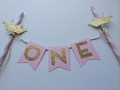Pink and Gold Cake Bunting Banner with Gold Tiara. 1st Birthday Cake. Smash Cake. Cake Decor. Princess Party on Etsy, $10.38 AUD