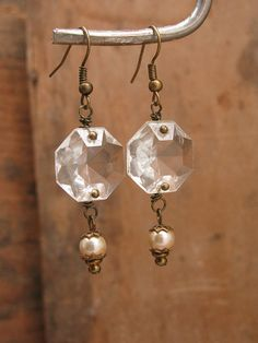 Upcycled Jewelry Hexagonal Chandelier Crystal Brass by thekeyofa, $26.00