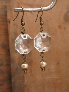 Upcycled Jewelry Hexagonal Chandelier Crystal Brass by thekeyofa, $26.00