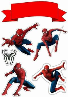 Spiderman with Spiders Free Printable Cake Toppers. - Oh My Fiesta! for Geeks Spiderman Torte, Spiderman Cake Topper, Superman, Batman, Paper Cake, Cakes For Men, Lol Dolls, Superhero Party, Free Printables