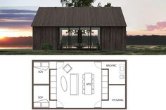 Prefab Tiny Home Shed Homes, Prefab Homes, Tiny Homes, Construction Chalet, Tiny House Cabin, Tiny Cabins, Small Buildings, Modern Barn, Cabins In The Woods