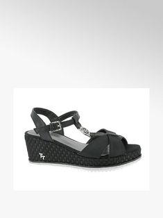 czarne sandały damskie Tom Tailor na koturnie - 12311008 - deichmann.com Duffy, Fashion Boots, Toms, Color, Products, Boots Style, Wedge Sandals, Colour, Gadget