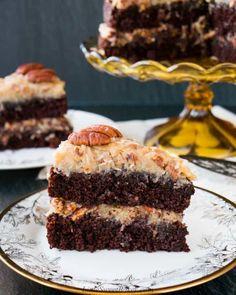 Chocolate Cake Video, Homemade German Chocolate Cake, Chocolate Cake From Scratch, Tasty Chocolate Cake, Chocolate Delight, Cake Recipes From Scratch, Chocolate Recipes, The Joy Of Baking, German Cake