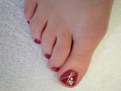 Valentine pedicure with stamping and glitter