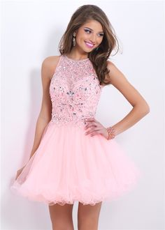 Cute Pink Beaded Illusion Top Halter Blush 9854 Cocktail Dress 2015