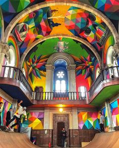 """""""This might be the best church I've ever seen! Yes, if you are in #Asturias, just visit here, amazing. Old church with full of urban art, graphs, colorful paintings and skatepark inside!  #Spain #RouteWhisperer 📍 La Iglesia Skate"""