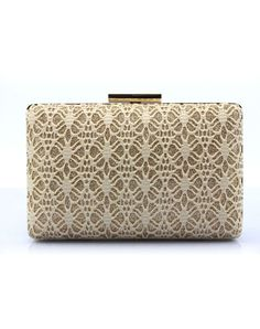 #AdoreWe #VIPme Clutches - CAIYUE Golden Elegant Lace Pattern Buckle Lock Square Banquet Clutches - AdoreWe.com