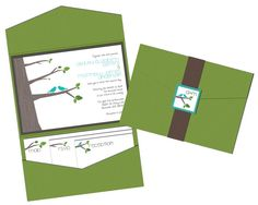 Tree and Birds Pocket Fold Wedding Invitations - Woodlands Pocketfold. Pocketfold Invitations, Wedding Invitation Samples, Pocket Wedding Invitations, Invitation Ideas, Pocket Invitation, Mailing Envelopes, Bird Tree, Reception Card, Envelope Liners