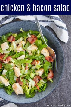 This chicken bacon salad doesn't have a lot of ingredients but it's packed with delicious flavor, all brought together with a tasty honey mustard vinaigrette. It makes a great light lunch or add in a few extras for a fuller meal. Best Appetizer Recipes, Best Salad Recipes, Best Breakfast Recipes, Salad Dressing Recipes, Best Appetizers, Salad Dressings, Brunch Recipes, Dinner Recipes, Easy Salads