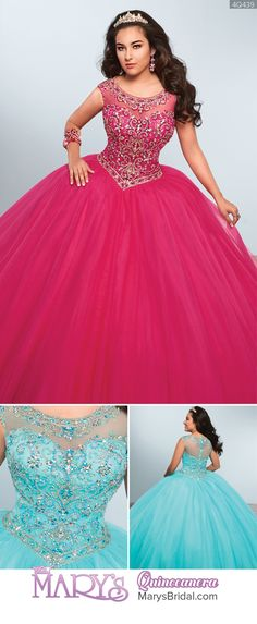 Style 4Q439: Tulle quinceanera ball gown with beaded floral motifs on bodice, bateau neck line, cap sleeves, basque waist line, and back zipper closure. From Mary's Quinceanera Fall 2016 Princess Collection