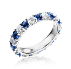 Mark Patterson - Promise Collection Platinum Blue Sapphire & Diamond Band