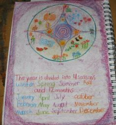 Waldorf ~ 3rd grade ~ Math ~ Measurement ~ Time ~ Wheel of the Year ~ Four Seasons ~ Twelve Months ~ main lesson book