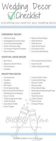 Wedding Decor Checklist | Wedding Decor | Ceremony Decor | Reception Decor | Cocktail Hour Decor | Wedding #weddingdecoration #weddingceremonydecorations #weddingdecorations