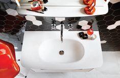 Contemporary hexagon wall tiles from Utopia Bathrooms. Contemporary Bathroom Furniture, Contemporary Bathroom Designs, Hexagon Wall Tiles, Industrial Bathroom Design, Bathroom Wall, Bathrooms, Sink, Modern, Color
