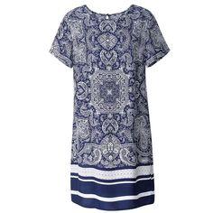 Women Fashion Printed Flared Tunic Top Dress Vintage Ethnic Elegant Lady Dress   eBay